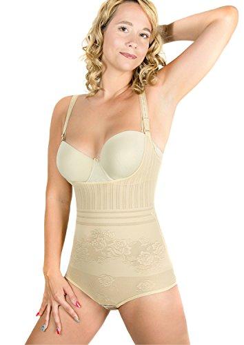 RIEMTEX Shapeware Damen Formbody Figurformender Body Shaper Bauchweg Unterwäsche Miederbody Schwarz oder Beige (44, Beige)