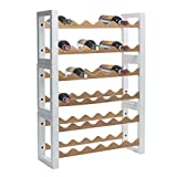 Saudagi Portabottiglie cantinetta porta vino in legno per frigo 36 posti (Bianco)