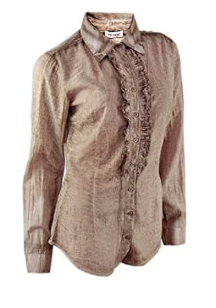 New Ladies Frilled Blouse Washed Effect Formal and Casual Wear Womens Size (XS (EUR 34))