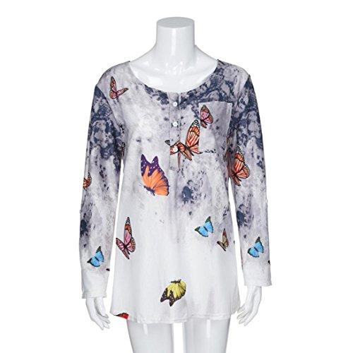 BHYDRY Frauen Plus Size Blumendruck Knopf Langarm Bluse -