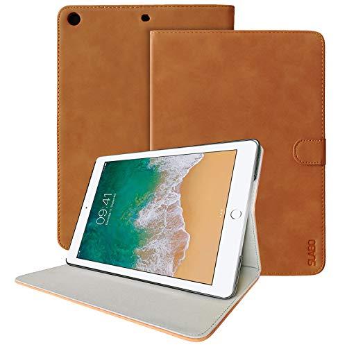 Slabo Tablet Hülle Case Vintage Retro für iPad 9.7 Zoll 2017 2018 Schutzhülle mit Auto Sleep Wake Funktion und Magnetverschluss aus PU-Leder - HELL BRAUN