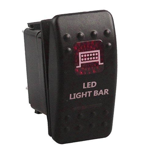 Light Bar-schalter (Supmico 12V 20A 24V 10A KFZ Rot LED Licht Beleuchtet Wippenschalter Kippschalter Armaturenbrett Schalter Bar Light)