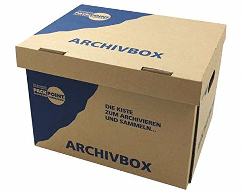 10 Stk. Archivbox 400x320x290mm, extrem stabil, bis 250kg stapelbar / Ausführung: Braun mit Beschriftung