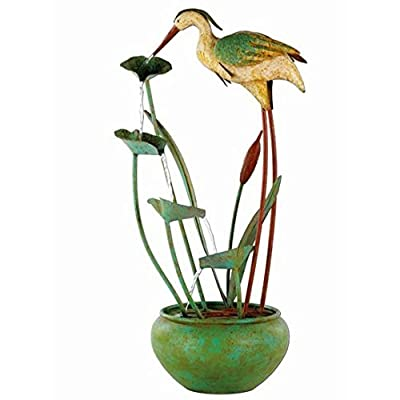 Small Solar Powered Water Feature Iron Heron PC605
