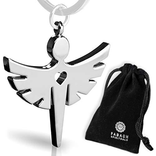 Schutzengel Schlüsselanhänger mit Herz – Edler Engel Anhänger aus Metall in Silber – Glücksbringer Geschenk für Auto, Führerschein – FABACH Spirituals™