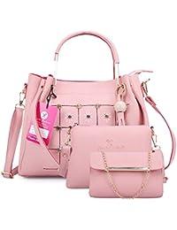Fiesto Fashion Women's Handbag (Set of 3) (FIESTO37_Pink)