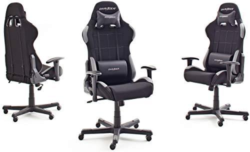 Robas Lund, DX Racer 5 - Silla de escritorio/oficina/ gaming, Negro/Gris, 74 x 52 x 123-132cm, madera, con ruedas, altura ajustable, tapizada, reposabrazos