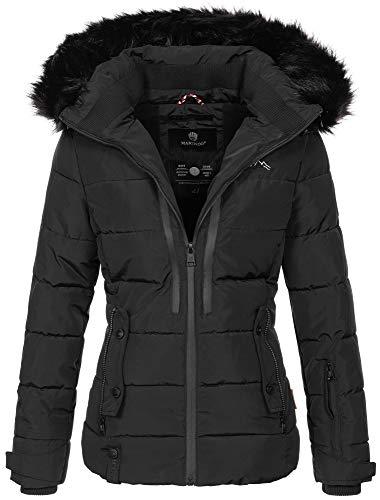 Marikoo warme Damen Winter Jacke Winterjacke Steppjacke gefüttert Kunstfell B682 [B682-Snowgi-Schwarz-Gr.S]