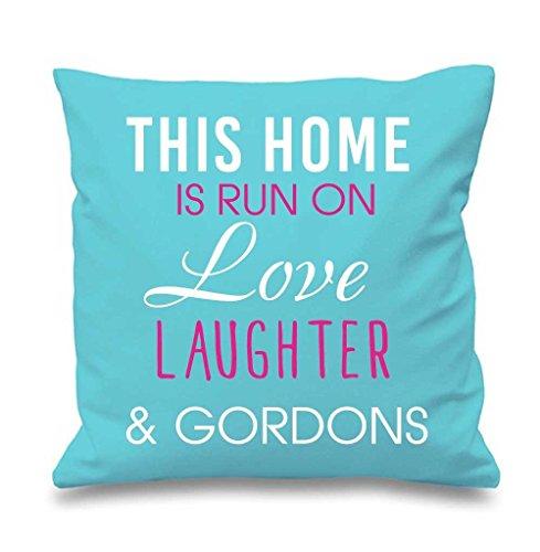 Aqua Housse de coussin cette maison est Exécuté par Amour rire et Gordons 40,6 x 40,6 cm Maman ami Cadeau Coussin décoratif Maison