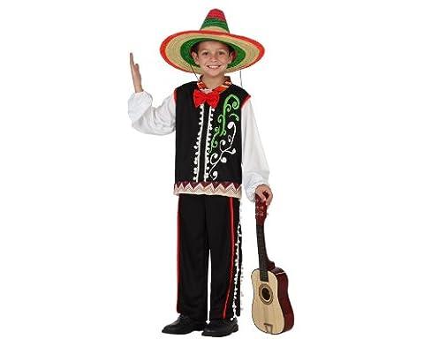 Atosa 23621 - Mexicaner Junge Kostüm, Größe 128, schwarz/bunt (Mariachi Kostüm Boy)