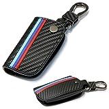 m-colored Stripe schwarz Carbon Faser Muster Leder Schlüsseltasche mit Schlüsselanhänger für BMW Fernbedienung Schlüsselanhänger, schwarz, For Older 1 3 5 6 Series X5 X6 Z4