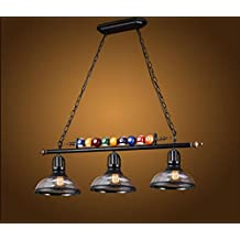 Araña europea Snooker loft araña de cristal retro personalidad creativa tres cabeza única restaurante arte bar billar lámpara industrial Arañas industriales ( Color : 3 Cabeza )