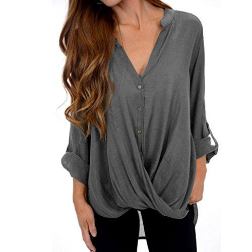 ESAILQ New Damen Pulli Langarm T-Shirt Rundhals Ausschnitt Lose Bluse (XXXXL,Grau)