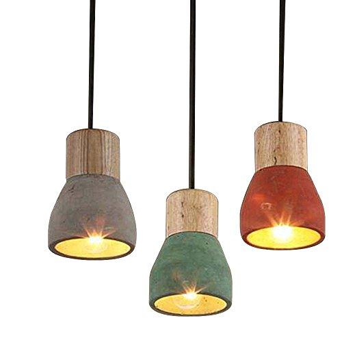 Haoaijia Pendelleuchte Zement Pendelleuchte 120 Cm Draht E27 / E26 Socket Droplight 4 Farben Holz Innen Dekoration Hängelampe, Grau