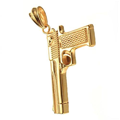 PAURO Edelstahl CS Gun Ornamente Anhänger Pistole Hip Hop Punk Herren Halskette für Biker Gold ohne Kette