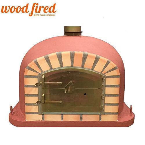 Brick Red Deluxe Wood Fired Pizza Oven, Orange Arch, Gold Door, 70cm x 70cm