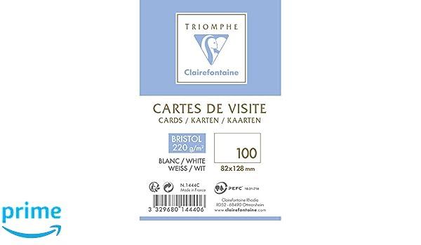 Clairefontaine 1444C Bote De 100 Cartes Visite En BRISTOL Plastique 82 X 128 Cm 220 G Blanc Amazonfr Fournitures Bureau