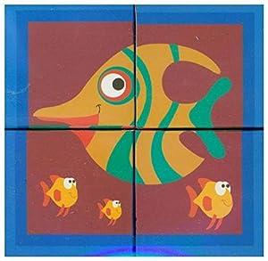 SCRATCH- RompecabezasPuzzles encajables y rompecabezasSCRATCHScratch Puzzle Ocean 4 Blocks 12x12x6cm, Cardboard, in Box, 18m+, Multicolor