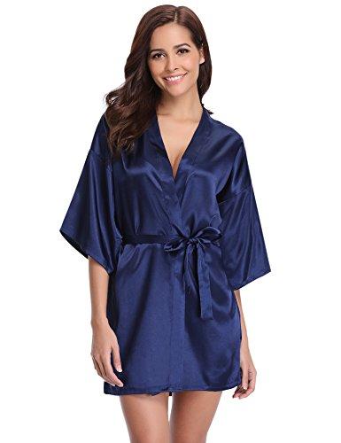 Aibrou Damen Satin Kimono Nachthemd Nachtwäsche Langer Morgenmantel Bademantel Schlafanzug Unterwäsche mit Gürtel Blau S