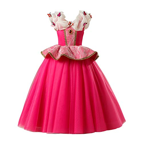 Clacce Mädchen Karneval Dornröschen Kostüme Kinder Cosplay Aurora Prinzessin Partykleid Märchen Schmetterling Fasching Sleeping Beauty Dress Up Geburtstag Festzug Halloween Fotoshooting - Baby Kostüm Carters