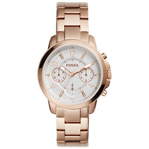 Fossil Women's 37mm Rose Gold-Tone Steel Bracelet & Case Quartz White Dial Chronograph Watch ES4035