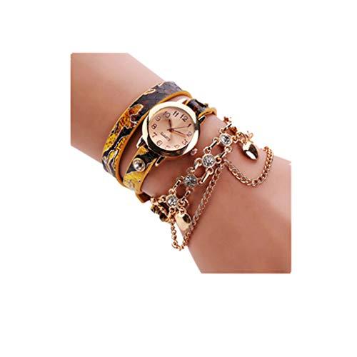 SSUPLYMY Frauen Uhr Damen Armbanduhren Uhr Frau Leder Strass Armband Armbanduhr Damenuhren Für Frauen Damen Mode Lässig Halskette Surround Uhr Quarz Analoguhr Armband Damenuhren -