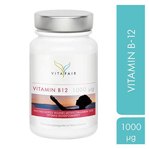 Vitamin B12 Tabletten - 1000µg pro Tagesdosis - 365 Tabletten - Jahresvorrat - 40.000{29c63c63d3b7b39a696f7d0707015771393a36edc06e34cb886876c7fdd01dc3} Tagesbedarf - Hochdosiertes Methylcobalamin - Vegan - Ohne Magnesiumstearat - Made in Germany