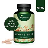 NUEVA! Vitamina B12 PLUS Vegavero Vegana | LA ÚNICA CON LAS 2 FORMAS ACTIVAS | Con Ácido Fólico + B6 + Colina | Sin Aditivos | 180 Cápsulas | Energía + Fatiga | Suplemento Energético