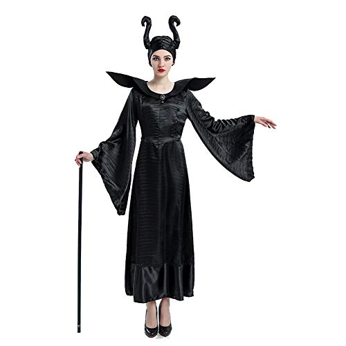Paare Vampir Kostüm Für - AINI Forever Young Lady Halloween Kleid Vampir Paare Kostüm, Schwarz Maxikleid Queen Cosplay Halloween Party Kostüm Erwachsene, Minikleid Halloween Kostüm Halloween Kostüm 100% Polyester - M/L/XL