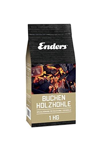 Enders Buchenholzkohle für Aurora Tischgrill 1383, rauchfrei BBQ Grill, Buchen-Holzkohle für schenlles Anzünden, 1 KG