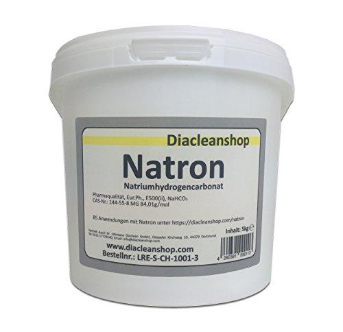 Natron 5 kg Pulver in pharmazeutischer Qualität - Natriumhydrogencarbonat (E500ii) - NaHCO3 - Backsoda - Bakingsoda - Basenbad - Hausmittel zum Backen, Reinigen, Baden, Gerüche Neutralisieren & DIY-Kosmetik -