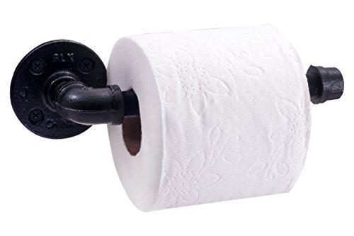 Rustikal Industrielle Rohr-Toilettenpapierhalter von Decor   Schwerlast DIY Stil, Wandmontage Kit, modernes Chic galvanisch schwarz Eisen Finish, kommerziellen Grade Metall, der Slide TP, Öl + Rost kostenlosen (Die Euro-slide)