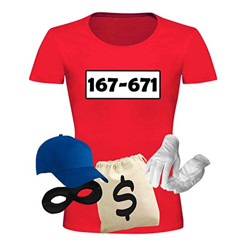 Kostüm Was Standard - T-Shirt Panzerknacker Kostüm-Set Deluxe+ Cap Maske Karneval Damen XS - 3XL Fasching JGA Sitzung Weiberfastnacht, Größe:M, Logo & Set:Standard-Nr./Set Deluxe+ (167-761/Shirt+Cap+Maske+Hands.+Beutel)