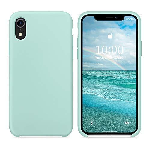 SURPHY iPhone XR Silikon Hülle, iPhone XR Case Silikon, Schutzschale vor Stürzen & Stößen Silikon Handyhülle für iPhone XR 6,1 Zoll (2018) Minze