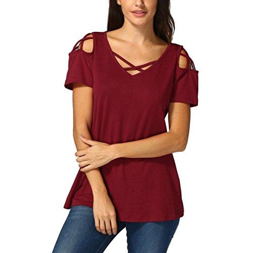 tefamore Femmes d'été à Manches Courtes Strappy épaule Froide T-Shirt Hauts Blouses (L, Z-Vin Rouge)