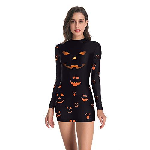 Skelett Kostüm Fliegende - JXILY Halloween Kürbis/Skelett/Blutdruck Strumpfhose Langarm 3D Print Kleid,Wb143/004,S