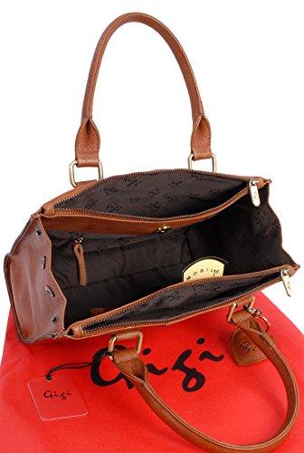 Ledertragetasche - Tote Giovanna 9046 von Gigi - Hellbraun - GRÖßE: B: 28 cm, H: 21 cm, T: 11 cm Gigi