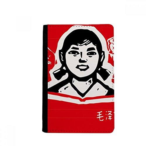 beatChong Mädchen-Buch Red chinesische Revolution Pass-Halter-Reise-Brieftasche Abdeckungs-Fall Karten-Geldbeutel