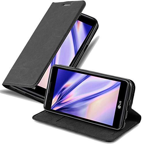 Cadorabo Hülle für LG X Power - Hülle in Nacht SCHWARZ - Handyhülle mit Magnetverschluss, Standfunktion und Kartenfach - Case Cover Schutzhülle Etui Tasche Book Klapp Style