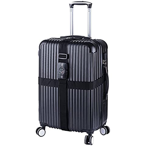 Naturehike 3-Dial Tsa bloqueo de seguridad Nylon Ajustable Correa de equipaje de Cruz, negro