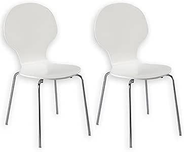 IDIMEX Lot de 2 chaises de Salle à Manger Maui empilables piètement chromé laqué Blanc