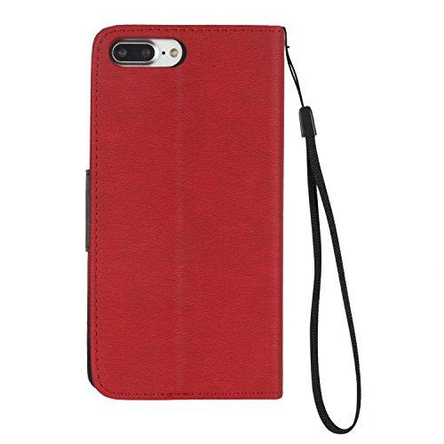 BONROY® Coque pour iPhone 7 Plus (5,5 pouces),Housse en cuir pour iPhone 7 Plus (5,5 pouces),datura étui en cuir PU Cuir Flip Magnétique Portefeuille Etui Housse de Protection Coque Étui Case Cover av rouge