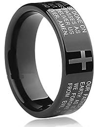 Sorella'z Cross Bible Text Black Ring for Unisex