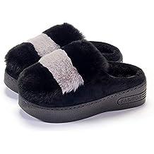 c596006cc88a9 WASDX Pantofole di Cotone casa Autunno e Inverno a Tacco Alto da Donna  Impermeabile Ispessimento Piattaforma