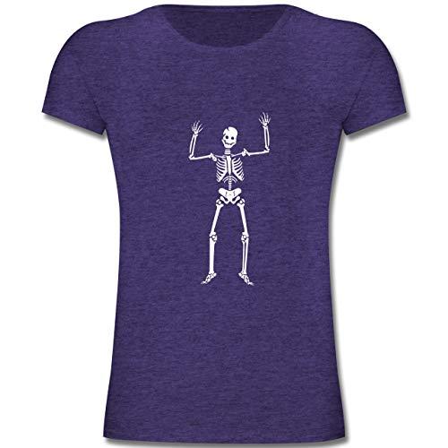 Anlässe Kinder - Skelett Skeleton - 164 (14-15 Jahre) - Lila Meliert - F131K - Mädchen Kinder T-Shirt