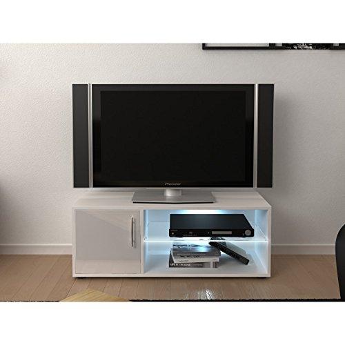Meuble TV LED 1 porte blanc FIRINI - L 100 x l 36 x H 38
