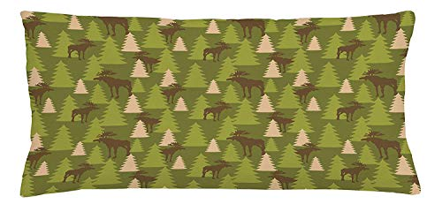 Cupsbags Deer Throw Pillow Cushion Cover, Animals in The Forrest Mooses and Pine Trees Pattern Canada Foliage Mammal Design, Decorative Square Accent Pillow Case, Green Tan Brown20