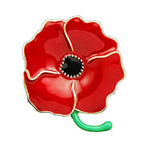 Poppy Pin Badges Brooches Enamel Engraved Four Petals Hero Remembranc Red Flower Rhinestone Badges Banquet Lapel Pin