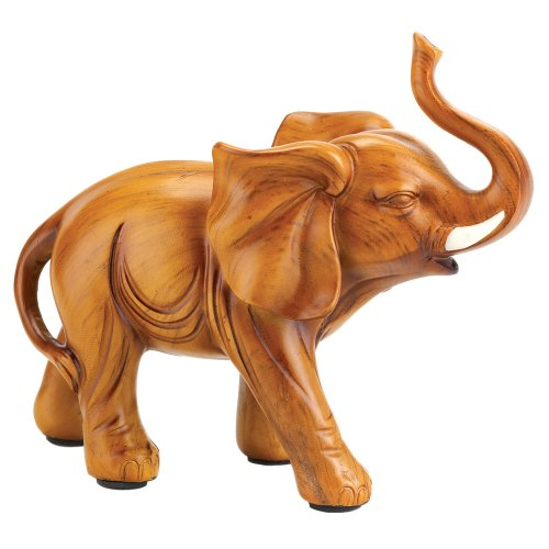 Gifts & Decor Elefant Holz Look Figur Statue, Holz-Finish, 16,2 x 6,7 x 13 cm