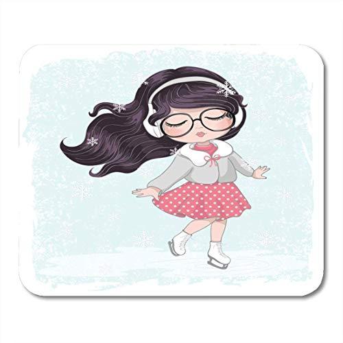 Luancrop Mausunterlage Nettes Eislauf-Mädchen-jugendliches entzückendes Baby schönes Blondes Mousepad für Notizbücher, Tischrechner-Mausunterlagen, Büroartikel